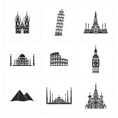 This is a vector illustration of nine flat landmark icons