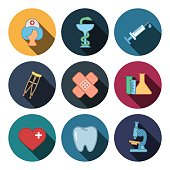 nine flat medicine icons