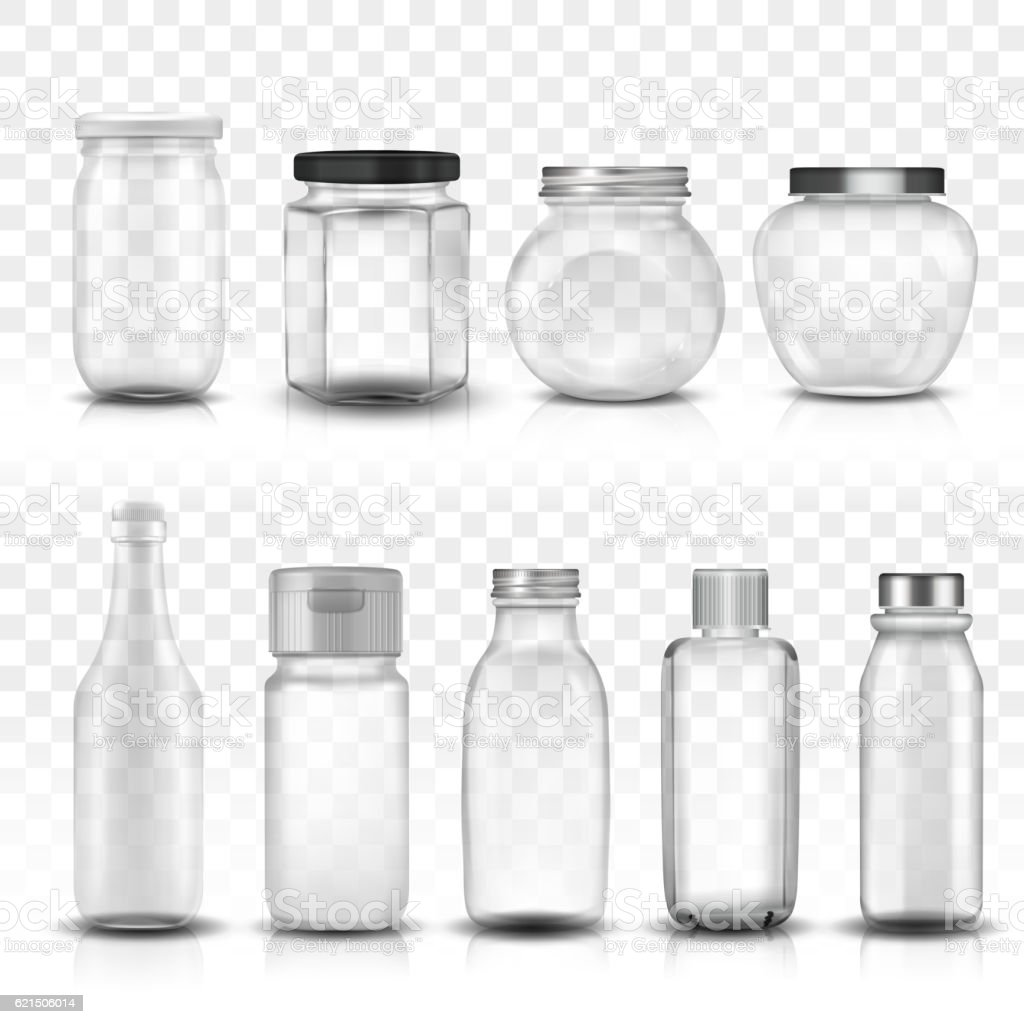 Nine glass jars collection set vector art illustration