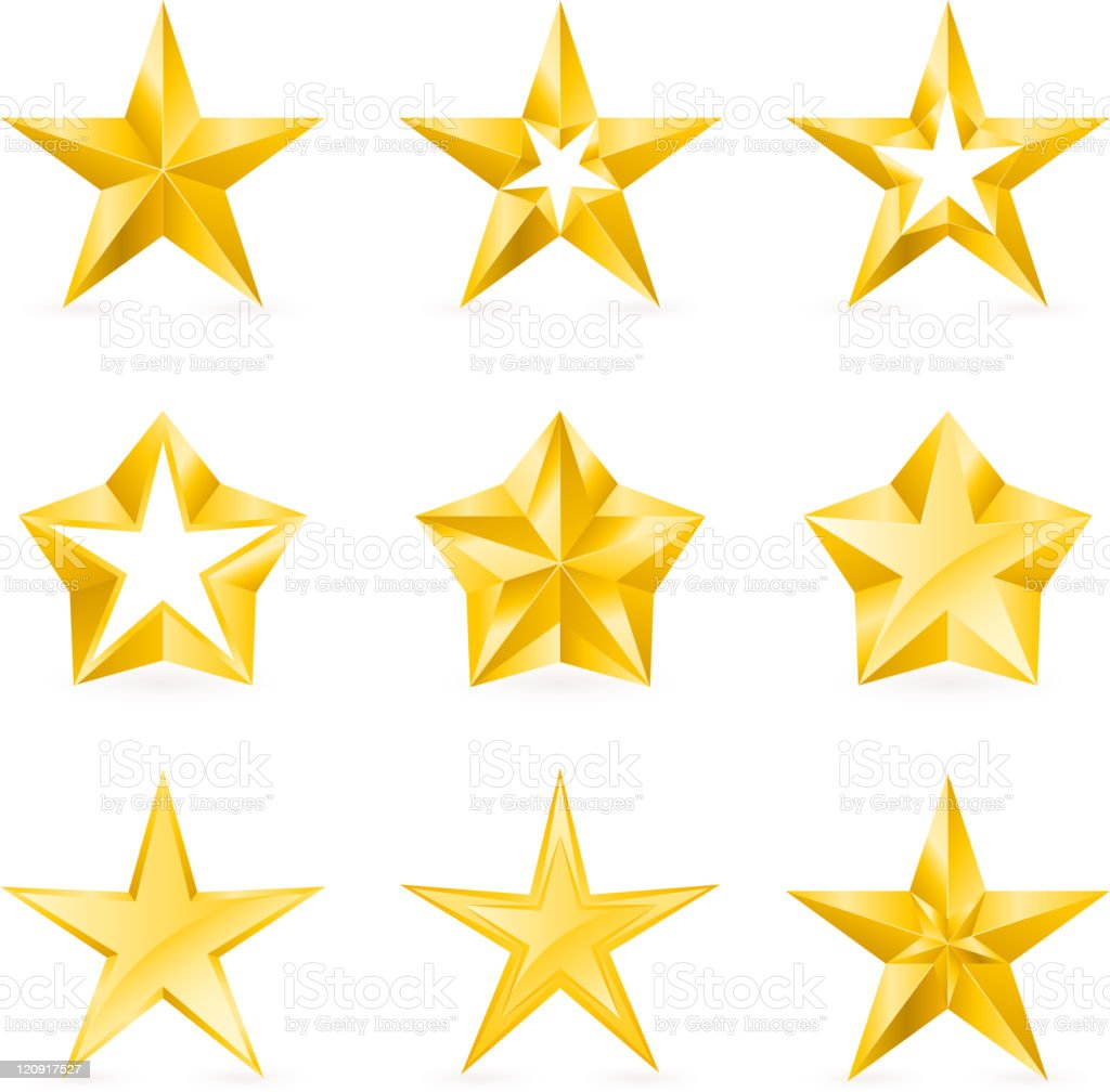 Nine gold stars of varying designs royalty-free nine gold stars of varying designs stock vector art & more images of color image