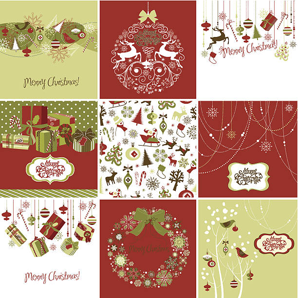 Nine graphic Christmas cards arranged in a square vector art illustration