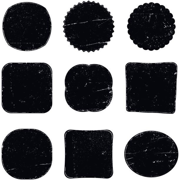 illustrazioni stock, clip art, cartoni animati e icone di tendenza di nine grunge stamp shapes - sigillo timbro