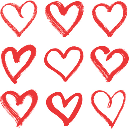 Nine hand drawn red hearts with different thicknesses