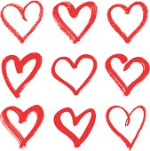 istock Nine hand drawn red hearts with different thicknesses 166009482