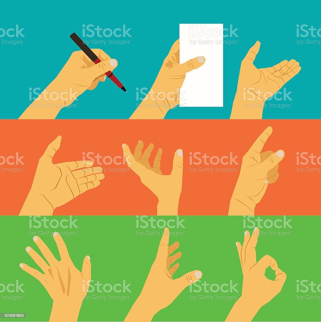 Neun Hand Posen Und Verschiedene Körpersprache Stock Vektor Art und ...