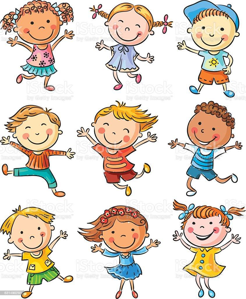 nine happy kids dancing or jumping stock vector art amp more