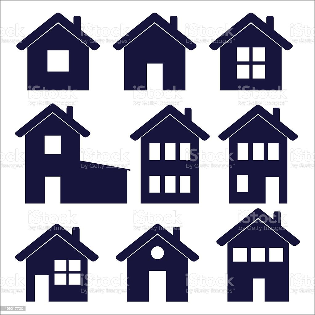 Nine House icons with varying window configurations vector art illustration