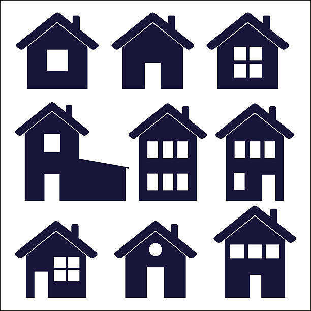 bildbanksillustrationer, clip art samt tecknat material och ikoner med nine house icons with varying window configurations - bebyggelse