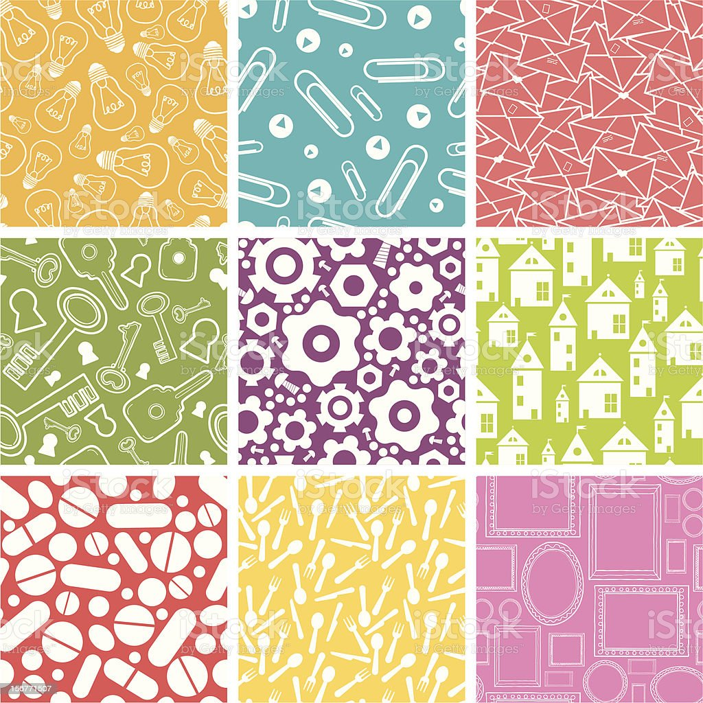 Nine Household Objects Seamless Patterns Set royalty-free stock vector art
