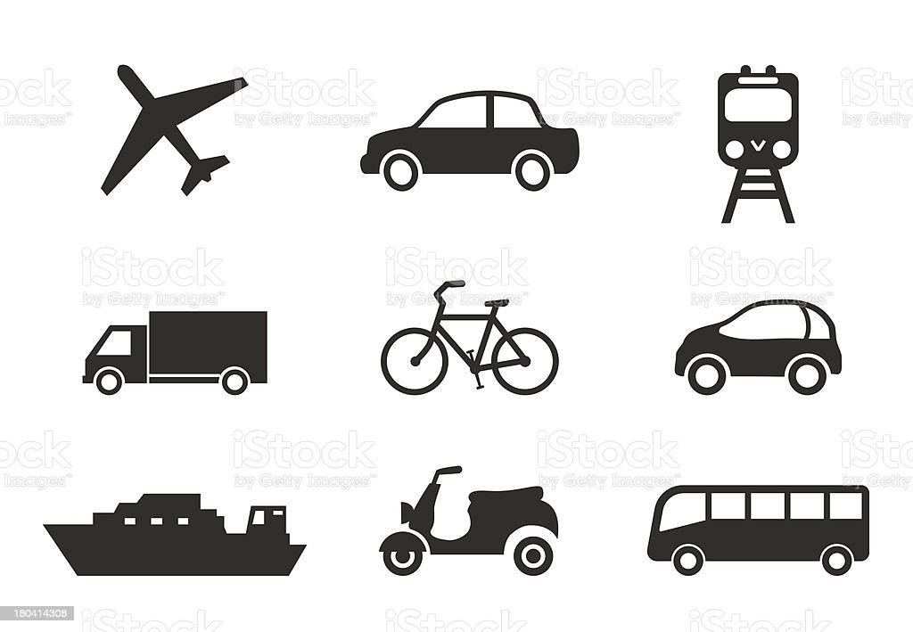 Nine icons that represent modern transportation royalty-free stock vector art