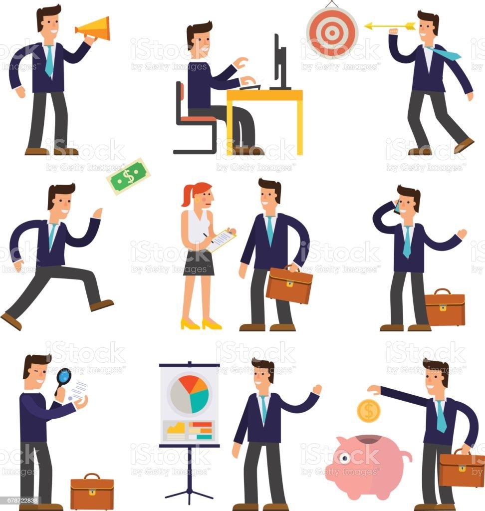 Nine Illustrations of Cartoon Character Successful Businessmen nine illustrations of cartoon character successful businessmen – cliparts vectoriels et plus d'images de adulte libre de droits