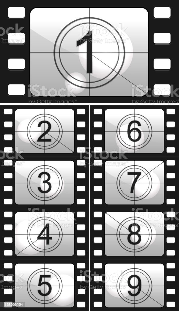 Nine individual frames of a film countdown royalty-free stock vector art