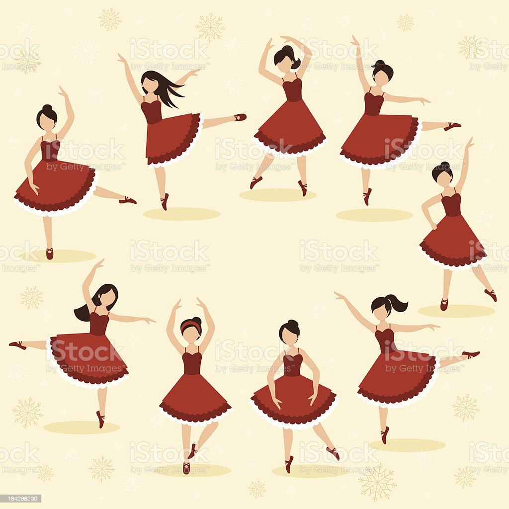 Nine Ladies Dancing royalty-free stock vector art