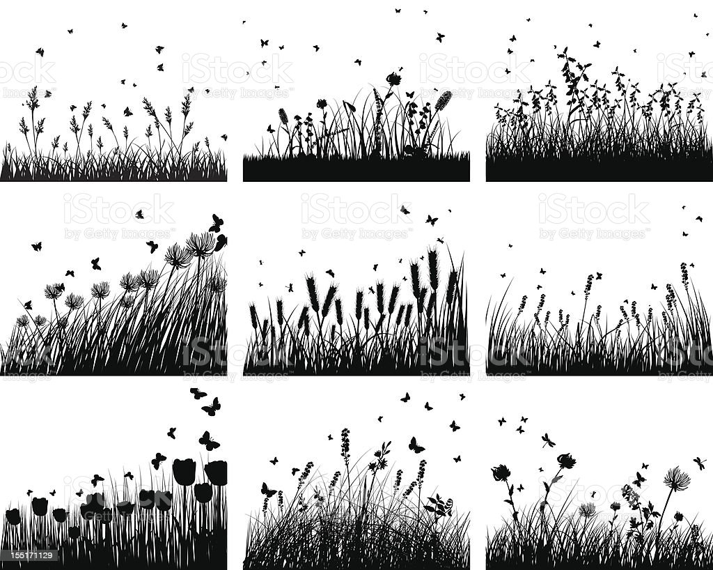 nine meadow backgrounds vector art illustration