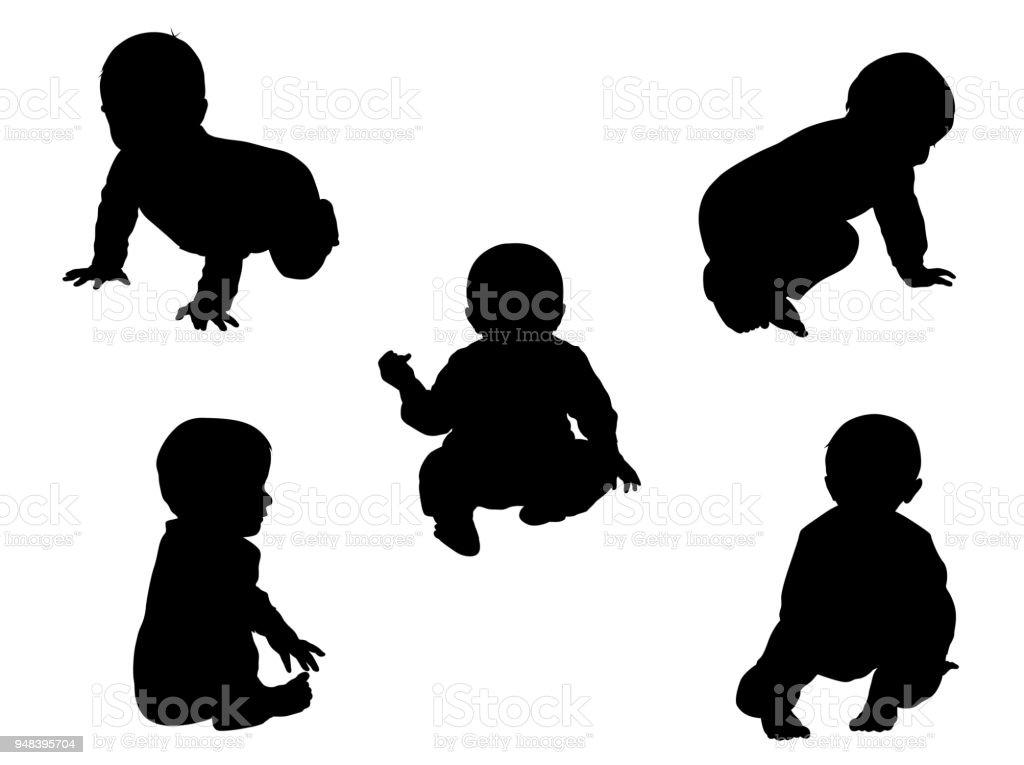 Nove meses de idade bebê sentado - Vetor de 18 a 23 meses royalty-free
