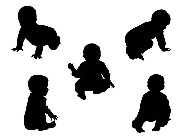 Nine Month Old Sitting Baby vector art illustration