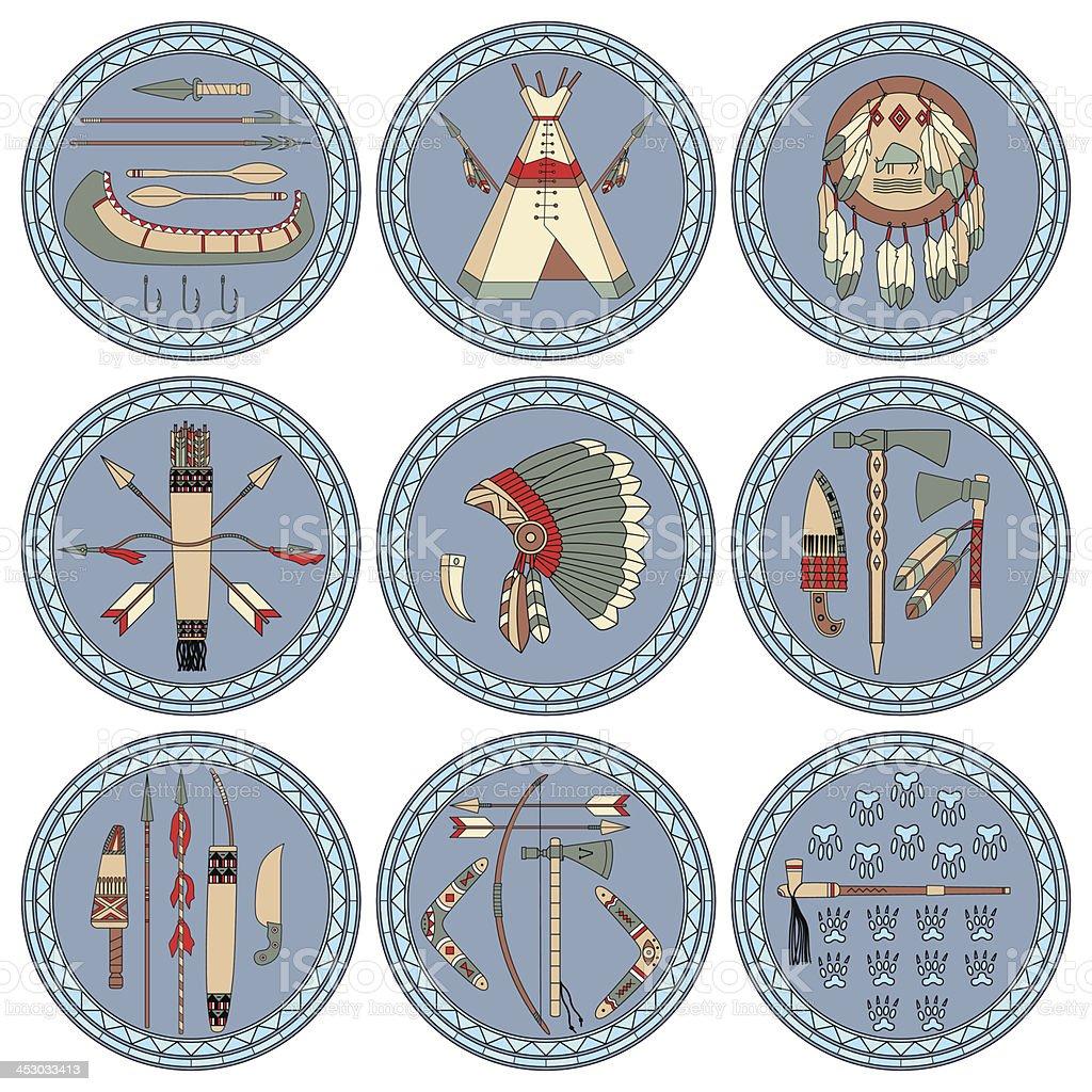 nine Native American labels vector art illustration