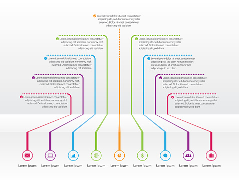 Vector infographic illustration with nine successive steps. Timeline design presentation. Infographic design layout.
