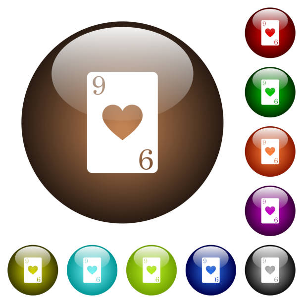 Nine Of Hearts Card Color Glass Buttons Vector Art Illustration