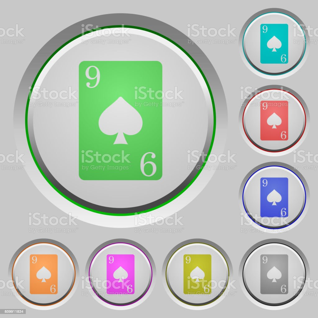 Nine of spades card push buttons vector art illustration