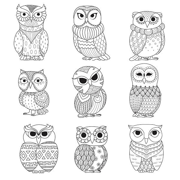 nine owls coloring books - black and white owl stock illustrations, clip art, cartoons, & icons