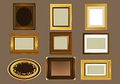 Nine Picture frame, in different shapes and sizes vector illustration. Oval frame, rectangular frame, square shaped frame, wooden frame and golden frame.
