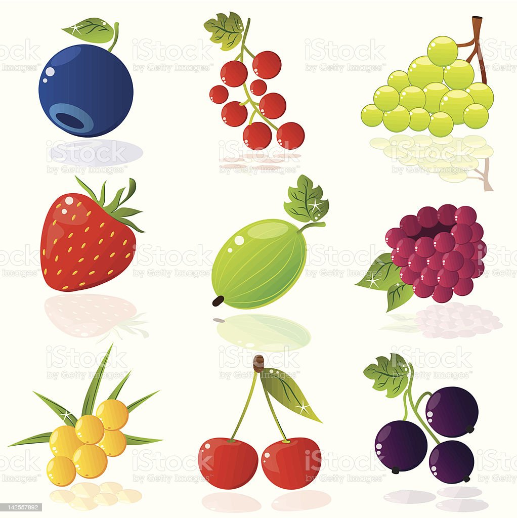 Nine pictures of different berries royalty-free stock vector art
