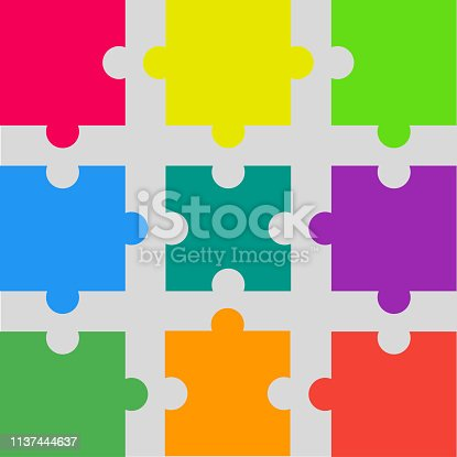 Nine pieces puzzle squares diagram. Squares business presentation infographic. 9 steps, parts, pieces of process diagram. Section compare banner. Jigsaw puzzle info graphic. Marketing strategy.