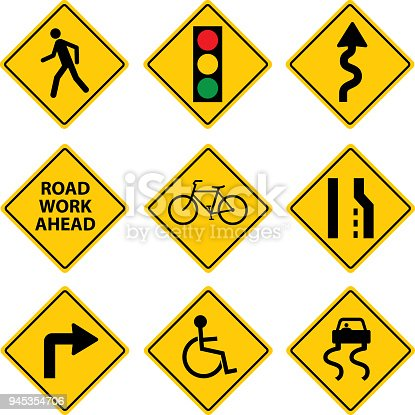 Vector illustration of nine different road signs.