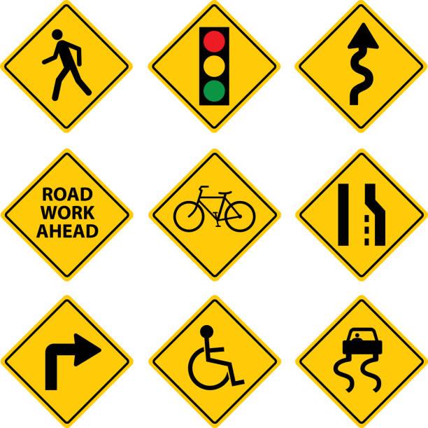 Nine Road Signs vector art illustration