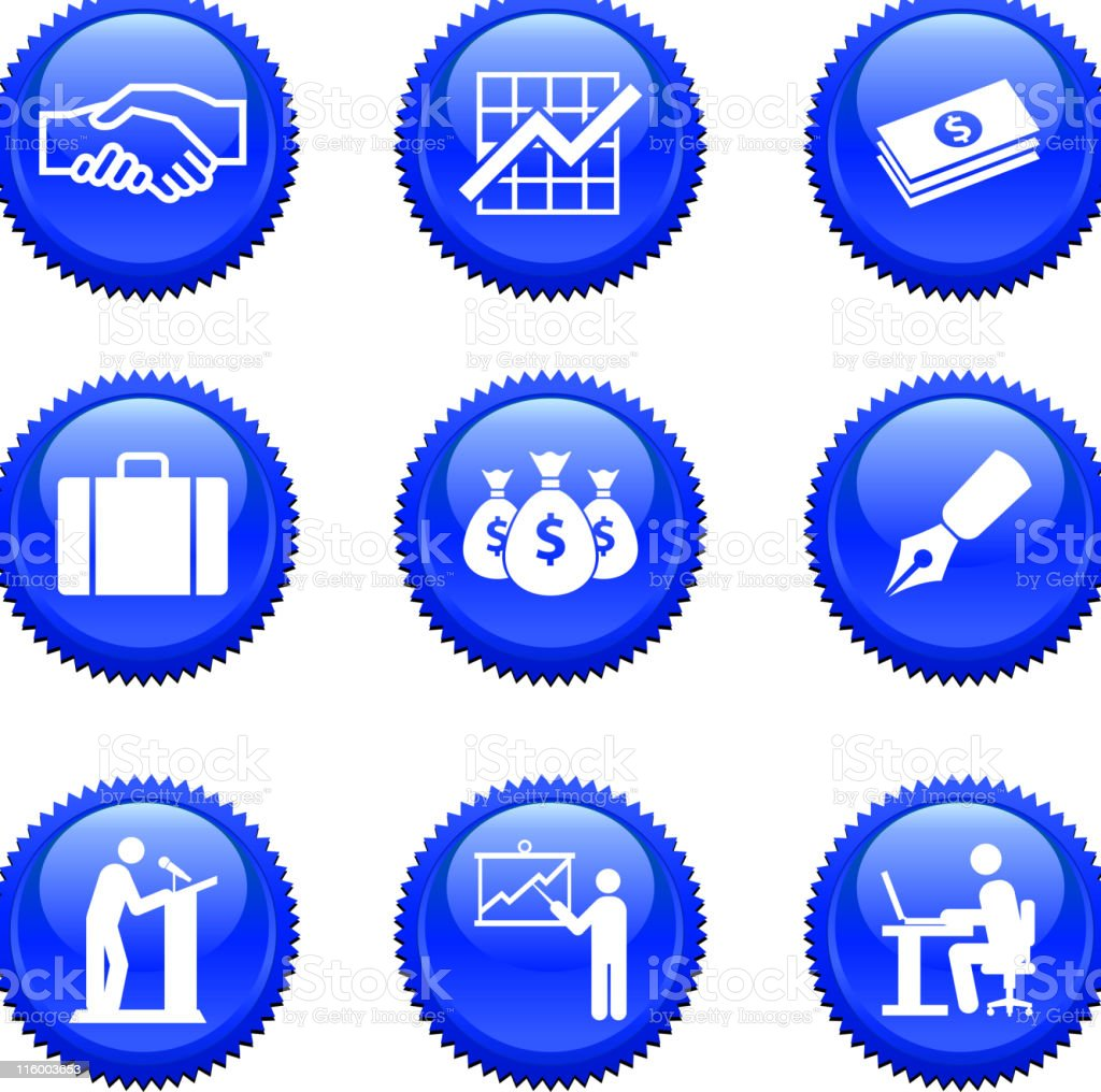 nine royalty free vector Icon technology badge sticker set royalty-free stock vector art