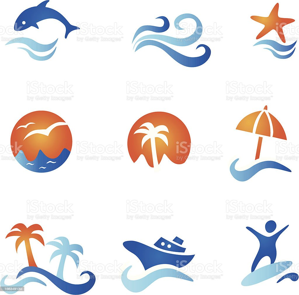 Nine Sea And Beach Icons royalty-free stock vector art
