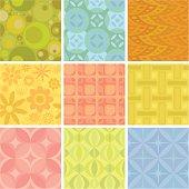 Nine colorful background tiles.