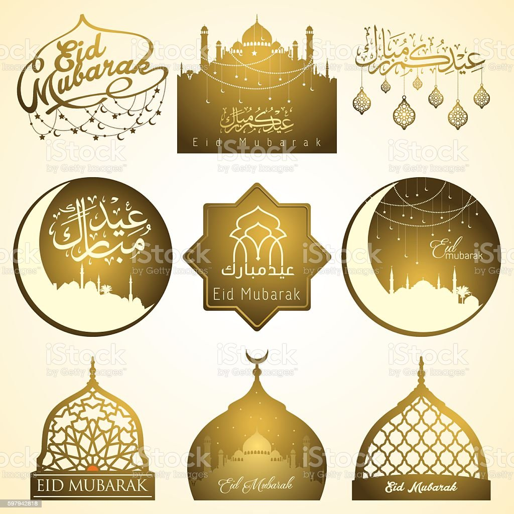 Nine sets of Eid Mubarak emblem for badges islamic holiday ilustração de nine sets of eid mubarak emblem for badges islamic holiday e mais banco de imagens de abstrato royalty-free