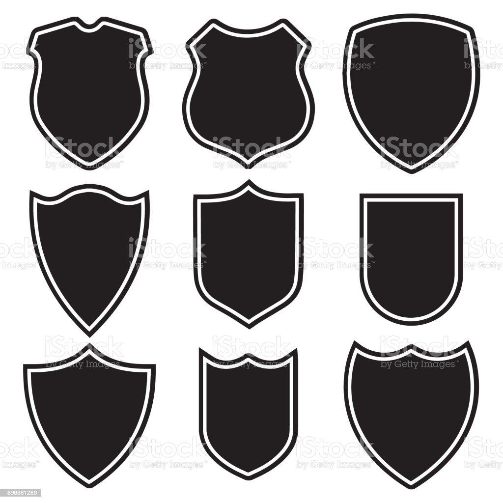 Neuf bouclier jeu d'icônes - Illustration vectorielle