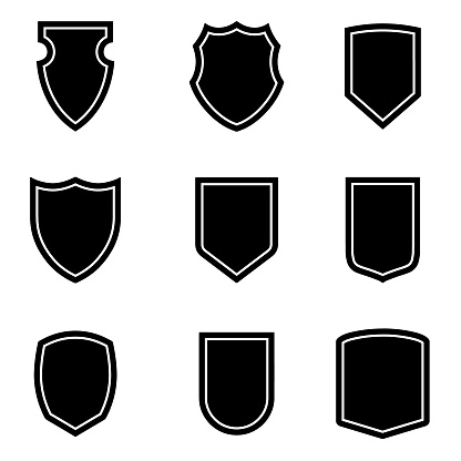 Nine shield icon set