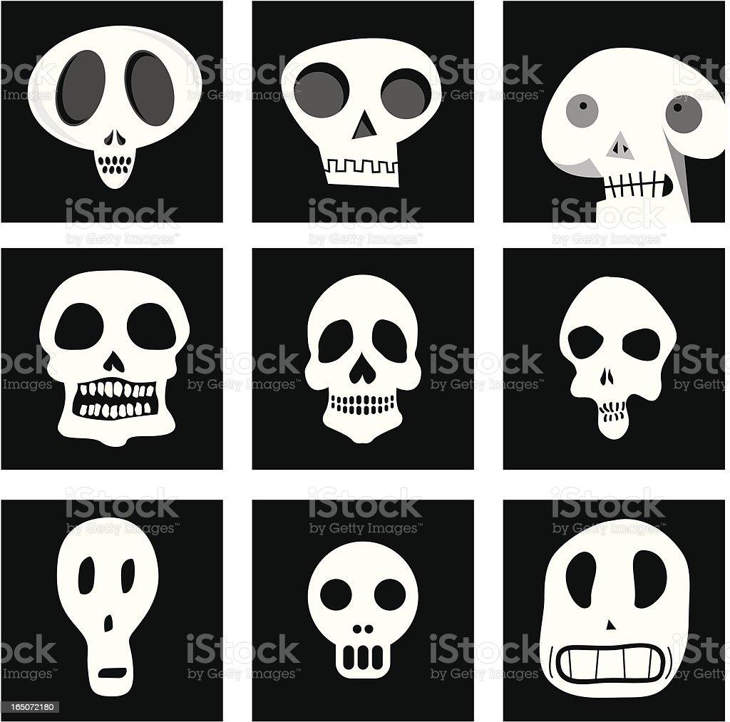 nine skulls vector art illustration