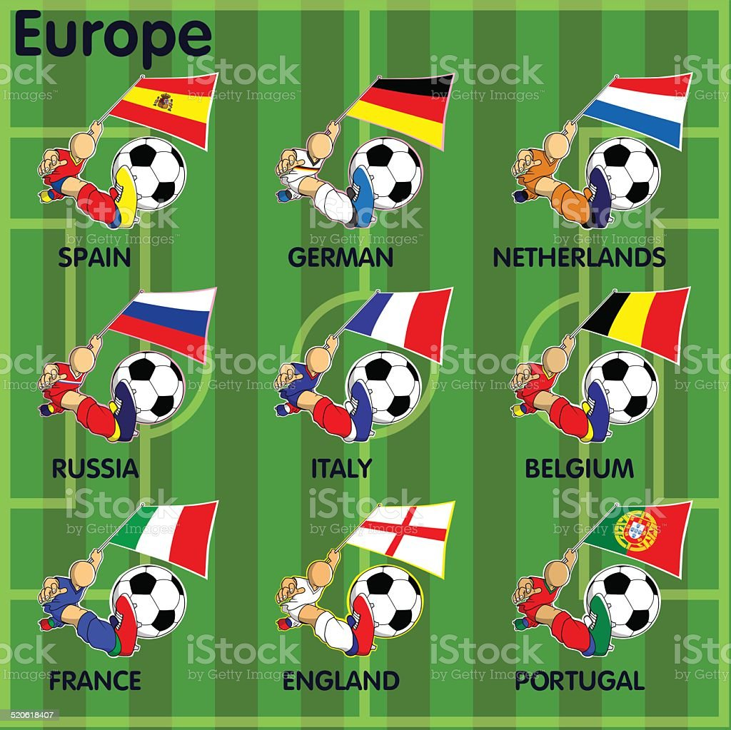 Neun Fussball Fussballteams Von Europa Stock Vektor Art Und