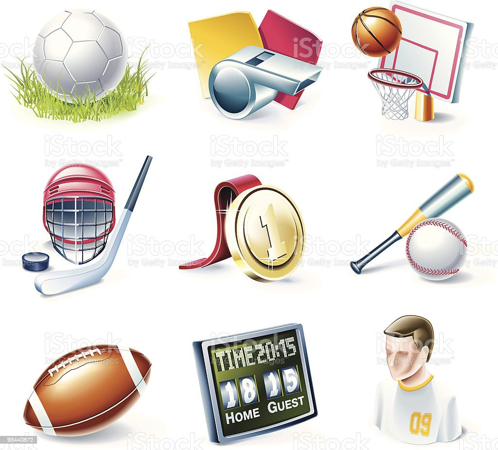 Nine sports-themed cartoon icons over a white background royalty-free stock vector art