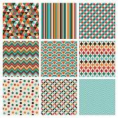 Nine squares of geometric designs