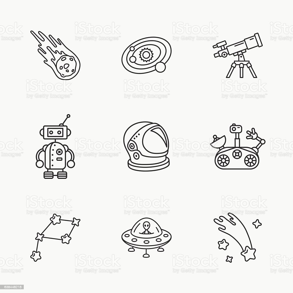 nine stylish space icons vector art illustration