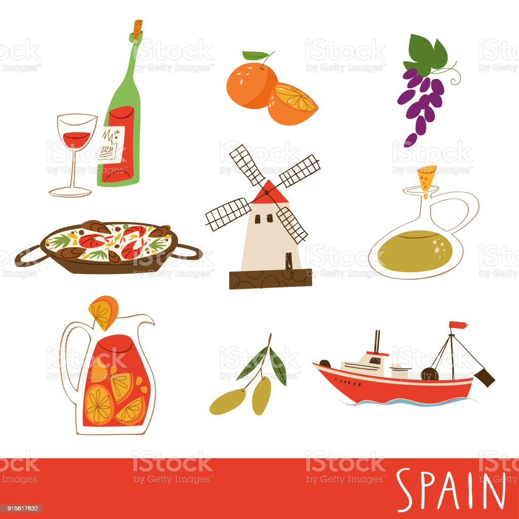 Nine symbols of spain culture food and architecture vector nine symbols of spain culture food and architecture vector illustration royalty free buycottarizona Images