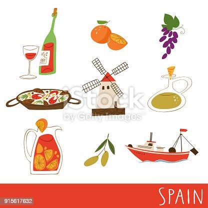 Nine Symbols Of Spain Culture Food And Architecture Vector