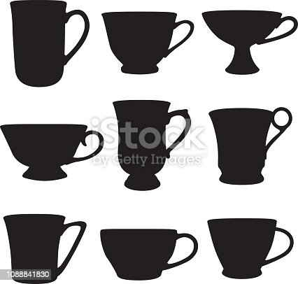 Vector silhouettes of nine teacups.