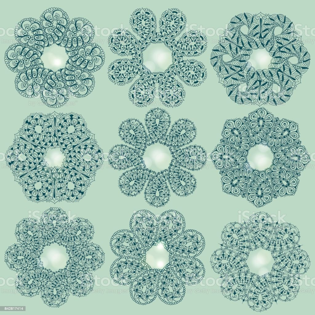 nine templates for tattoo design or card decoration vector