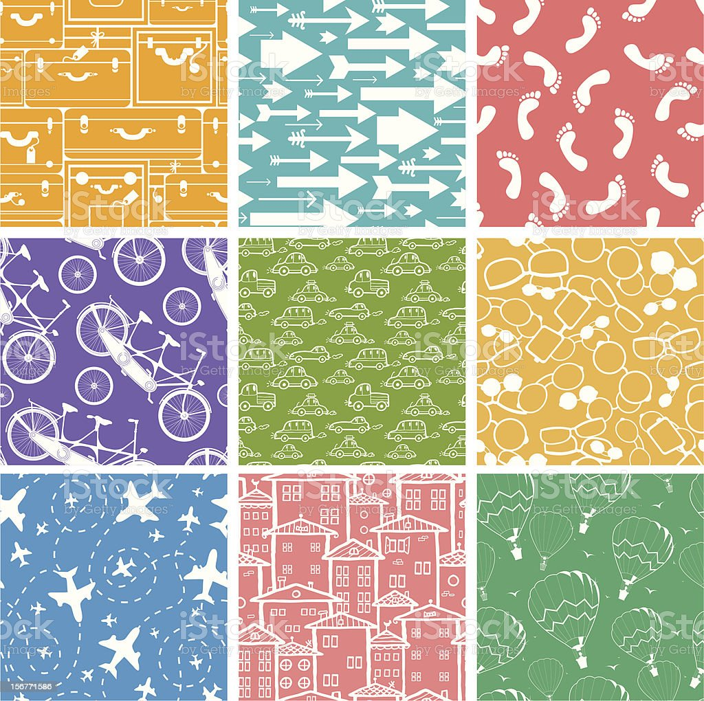 Nine Traveling Seamless Patterns Set royalty-free stock vector art