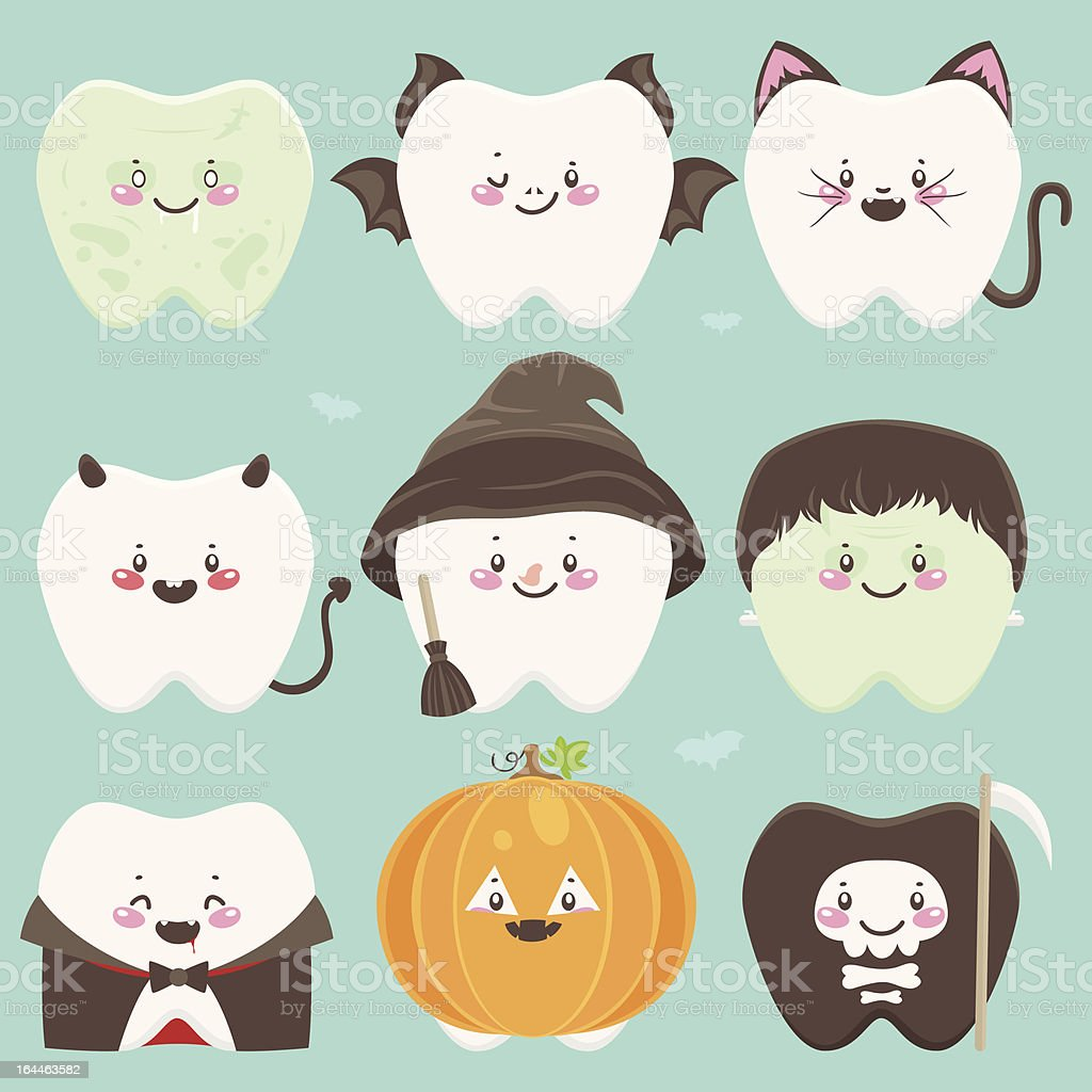 Nine vector cartoon teeth in various Halloween costumes royalty-free stock vector art
