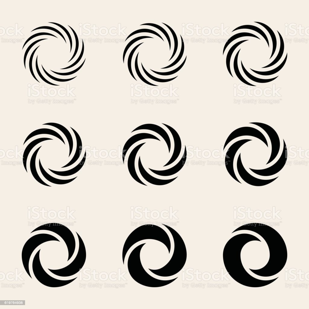 Nine Vector Twisting Circes Logo Design Elements vector art illustration