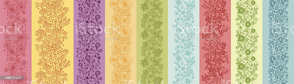Nine Whimsical Flowers Seamless Vertical Patterns Set royalty-free nine whimsical flowers seamless vertical patterns set stock vector art & more images of backgrounds