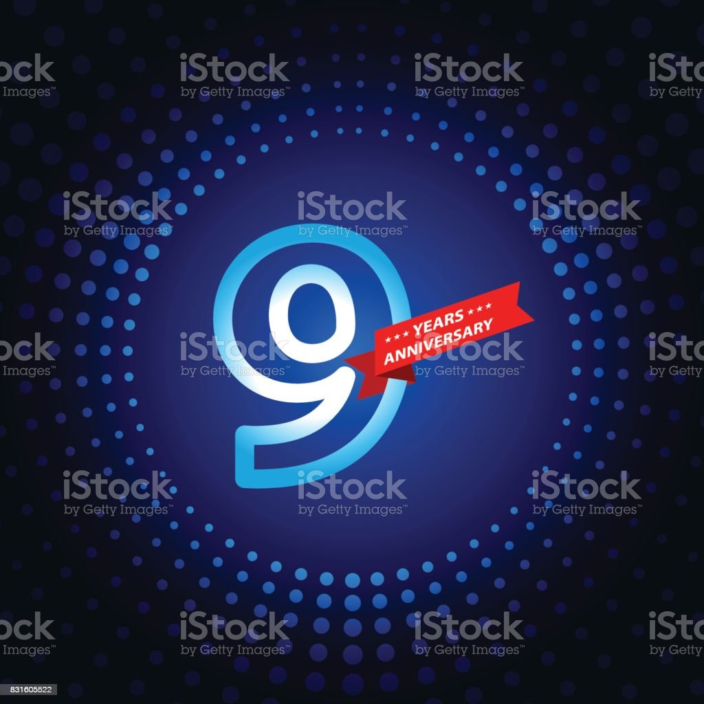 Nine years anniversary icon with blue color background vector art illustration